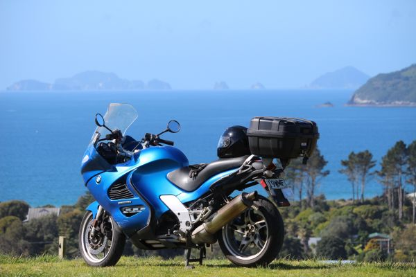 BMW motorcycle at a New Zealand Beach for hire