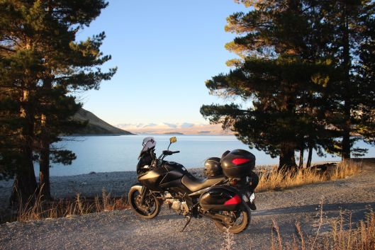Vstrom 650 at Lake Tekapo in the South Island