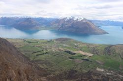 From a helicopter this view of Lake Wakatipu at Queenstown is an example of the scenery